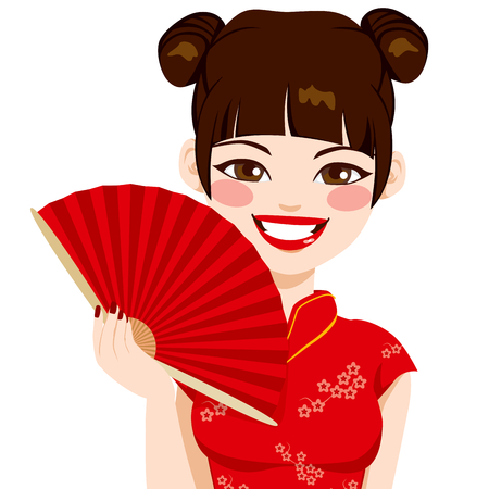 Beautiful brunette chinese woman holding red fan smiling happy Vector