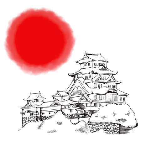 Line art illustration of Japanese Himeji castle with big red circle on background Vector