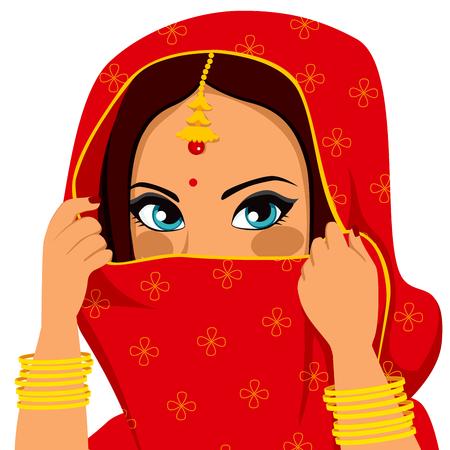 охватывающей: Красивая брюнетка индианки с традиционной красной сари покрытия и пряча лицо