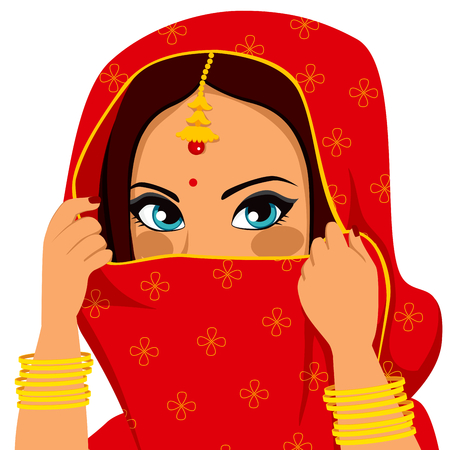 Beautiful brunette indian woman with traditional red sari covering and hiding her face Vector