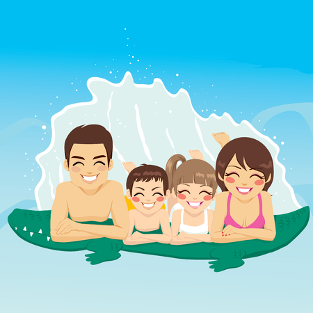 young boy in pool: Happy family lying down on crocodile tube at swimming pool together smiling
