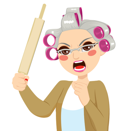 Senior woman angry holding roll pin with aggressive expression screaming Vector