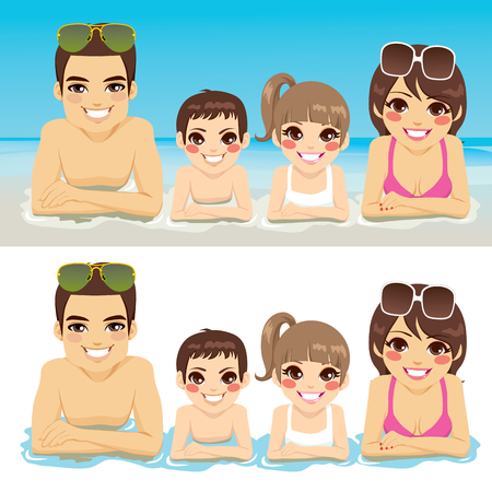 woman lying down: Happy family lying down on sea shore together smiling Illustration