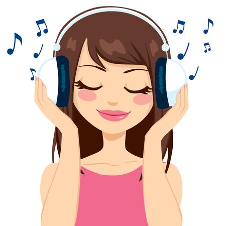 흰색 이어폰으로 음악을 듣고 아름 다운 갈색 머리 여자