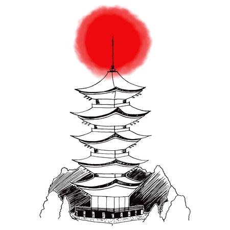 itsukushima: Stylized hand drawn illustration of Japanese Miyajima pagoda with red circle on background