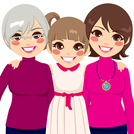 grandmother mother daughter: Three generation family women smiling happy together Illustration