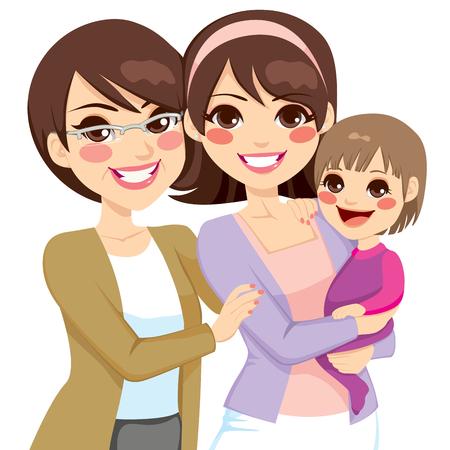 mom daughter: Jóvenes mujeres de familia de tres generaciones feliz sonriendo juntos