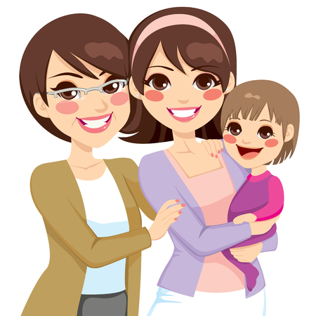 mother and infant: Young three generation family women happy smiling together