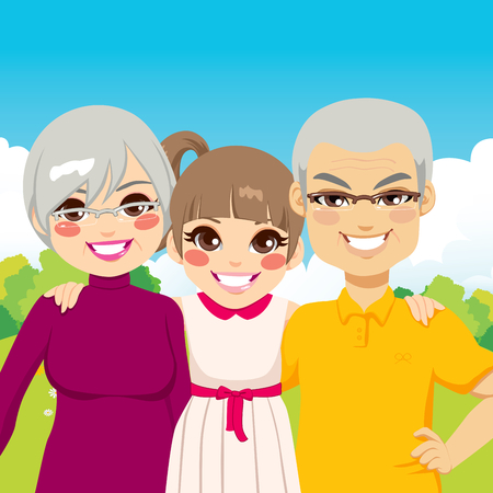 granddaughter: Cute little girl granddaughter with her senior grandparents