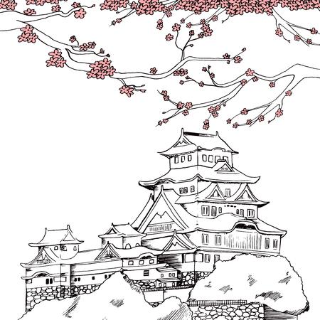 japonais: Ligne d'art illustration de château de Himeji japonais au printemps avec sakura fleurs roses de fleurs de cerisier