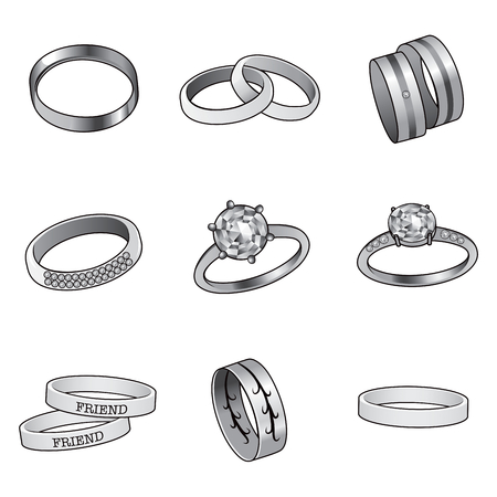 silver ring: Collection set of jewelry rings in black and white