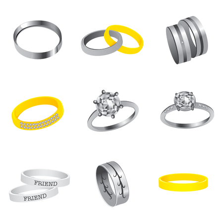Collection of silver, gold, steel rings and diamonds rings