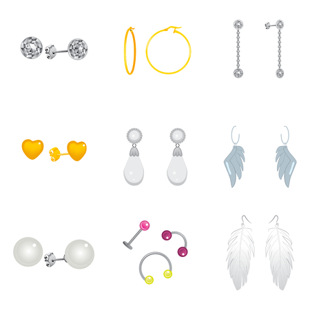 Collection set of different golden and silver earrings pendants and piercings