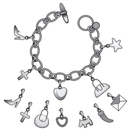 bracelet: Illustration of beautiful silver bracelet full of cute charms