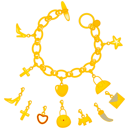 charms: Illustration of beautiful golden bracelet full of cute charms Illustration