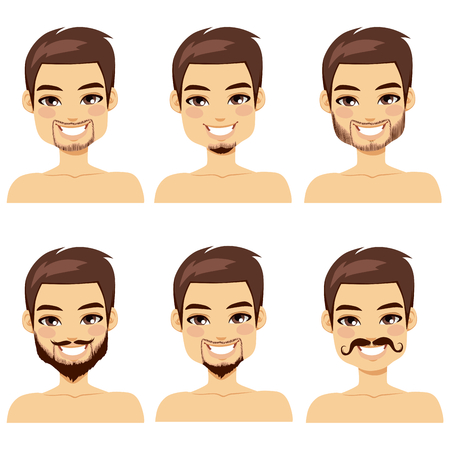 hair style collection: Handsome brown haired man with different beard styles Illustration