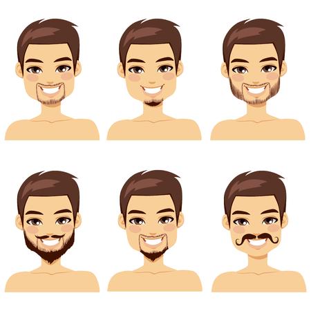 Hombre de pelo marrón hermoso con diferentes estilos de barba