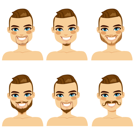 Attractive light brown haired man with different beard styles Vector