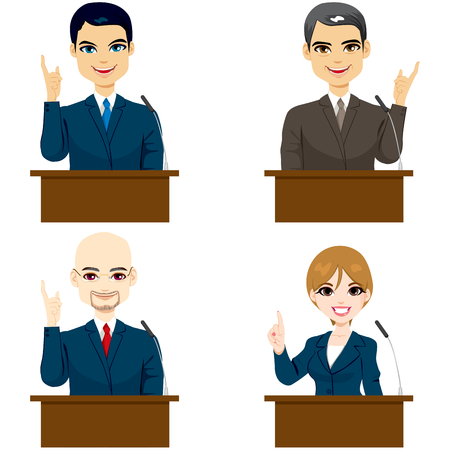 Collection of four different politicians speaking on microphone Vector