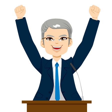 Happy senior politician man celebrating with fists up at podium Vector