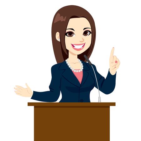 Joven y bella mujer elegante político dando un discurso