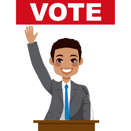 African American politician man giving a speech asking for vote and waving hand Vector