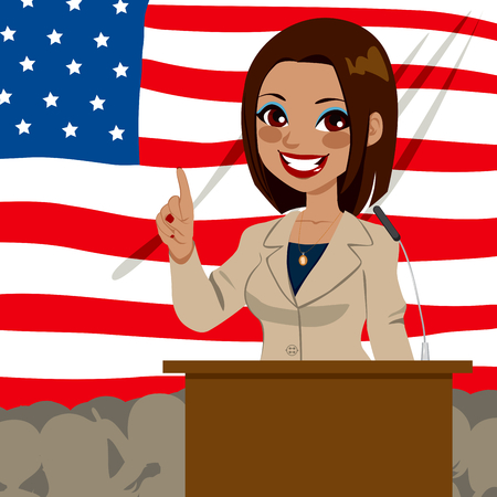 アメリカ合衆国の国旗の前でスピーチを与えるアフリカ系アメリカ人の政治家候補の女性  イラスト・ベクター素材