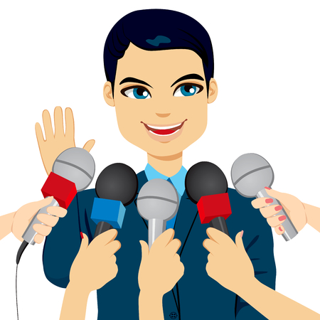 politician: Male politician or businessman answering press questions in front of journalists holding microphones