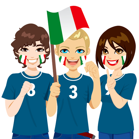 soccer fans: Young Italian soccer fans cheering their Italy national football team Illustration