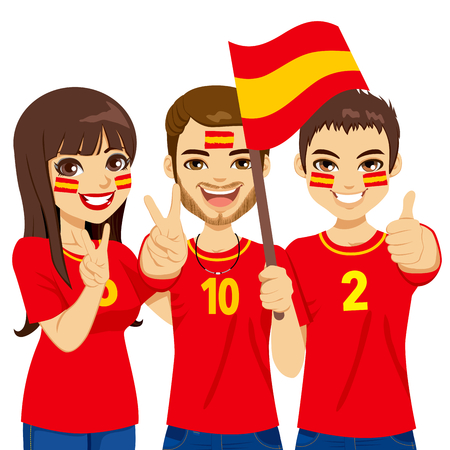 Young Spaniard soccer fans cheering their Spain national football team