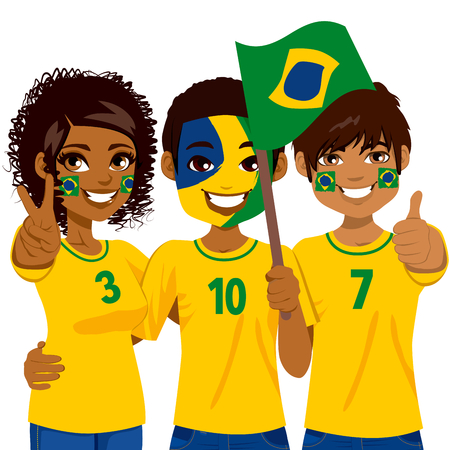 supporters: Young Brazilian soccer fans cheering their Brazil national football team Illustration