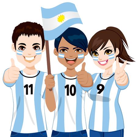 Los fanáticos del fútbol argentino jovenes que animan a su equipo de fútbol nacional de Argentina Foto de archivo - 27876791