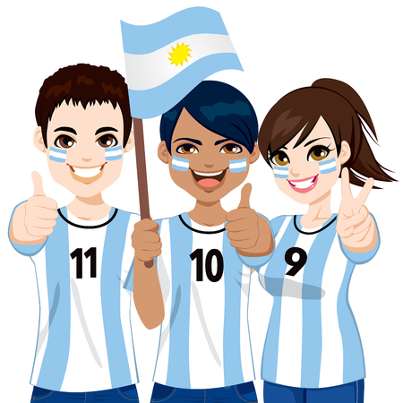 Young Argentinian soccer fans cheering their Argentina national football team
