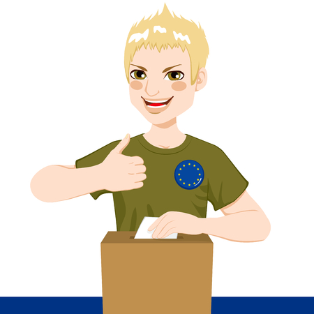 official symbol: Young man voting on European Union parliament elections with European flag pin in shirt