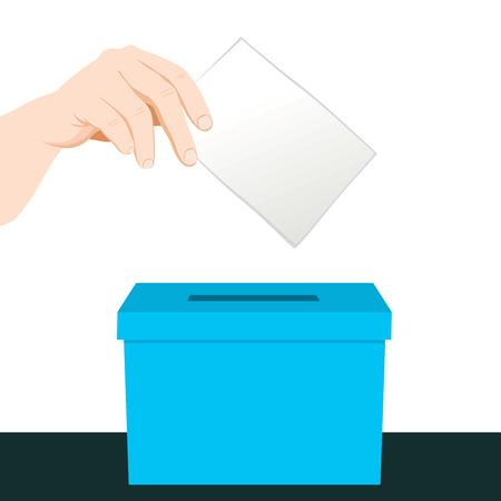 Hand putting a paper ballot voting on a blue ballot box Illustration