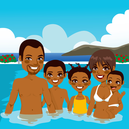 Beautiful African American family enjoying vacation time on swimming pool