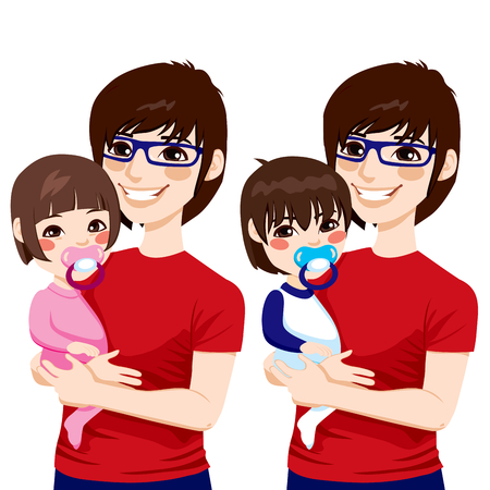 Happy young Japanese father with glasses holding and hugging his cute little baby boy and girl with pacifier Vector