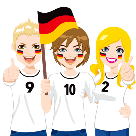 Young German soccer fans cheering their Germany national football team