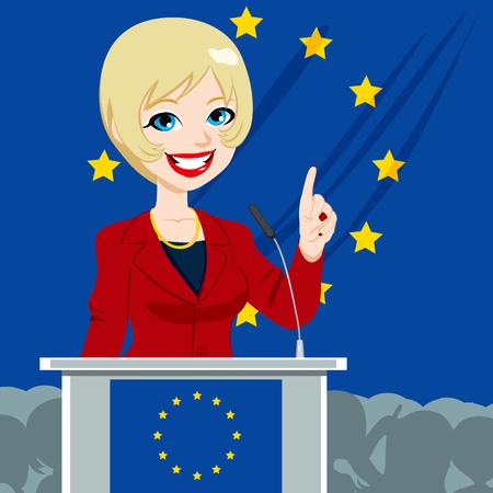 parliament: European Politician Woman Candidate giving a speech on European Union parliament elections