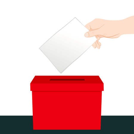 voter: Hand inserting a paper ballot voting on a red ballot box