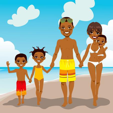 jovem: Família americana Africano feliz que aprecia férias de praia a pé em terra, areia Ilustração