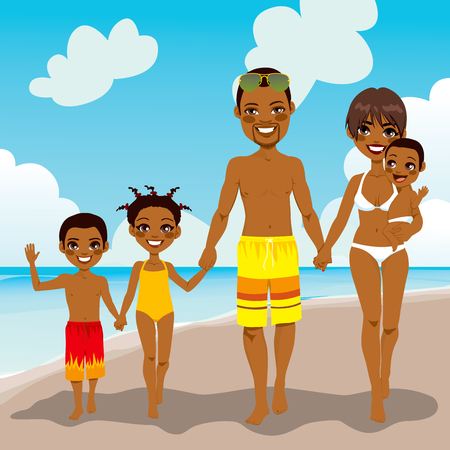 family vacations: Happy African American family enjoying beach vacation walking on shore sand