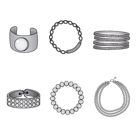 Illustration collection set of beautiful silver bracelet accessories Vector