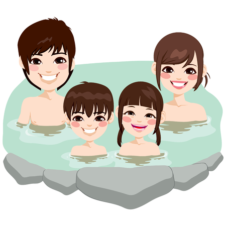 Cute Japanese family enjoying relaxing traditional hot spring onsen bath on vacation
