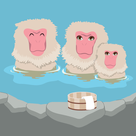 Cute snow monkey Japanese macaques family having hot springs bath at traditional onsen Illustration