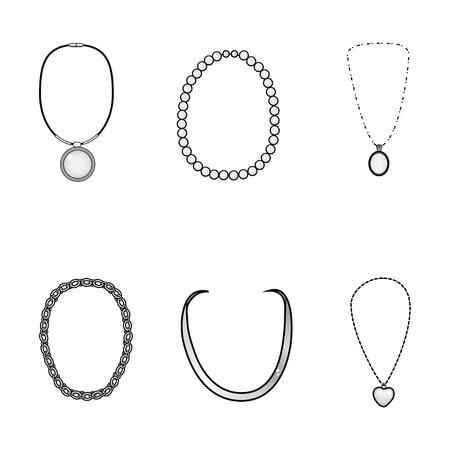 Illustration of beautiful elegant silver necklaces collection Vector