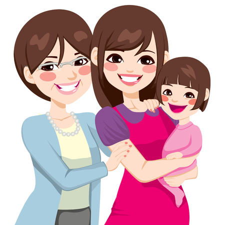 trois: Les jeunes femmes japonaises de famille de trois g�n�rations de sourire heureux ensemble