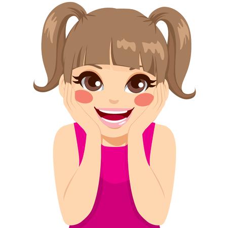 얼굴과 큰 미소에 손으로 놀란 표정을 만드는 귀여운 작은 행복 소녀