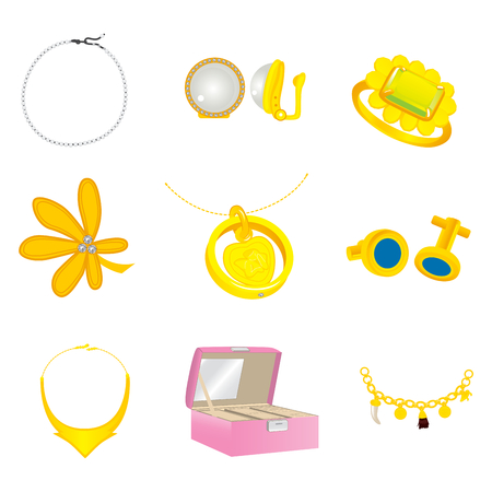 Collection of different gold jewelry fashion accessories for women Vector