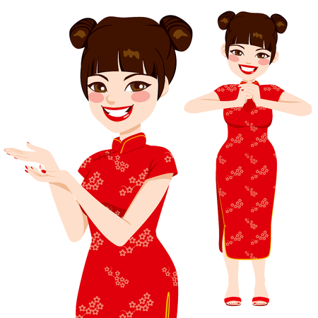 Beautiful chinese woman in traditional red dress making martial arts salute and posing showing with hands Vector